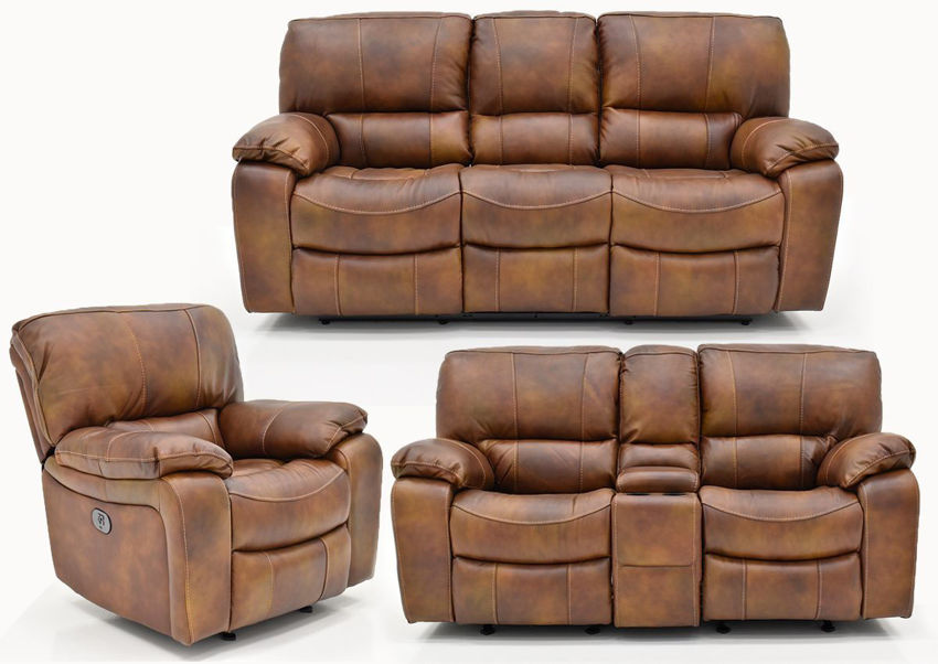 Legend POWER Leather Reclining Sofa Set by Man Wah | Home Furniture Plus Bedding