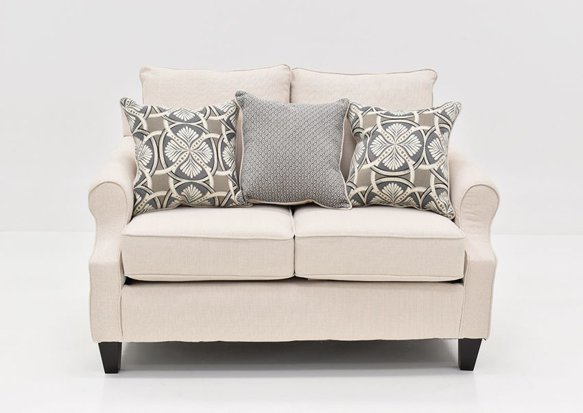 Front Facing View of the Bay Ridge Loveseat in Off White by Behold | Home Furniture Plus Bedding