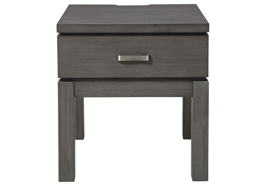Front Facing View of the Caitbrook End Table in Weathered Gray by Ashley Furniture | Home Furniture Plus Bedding