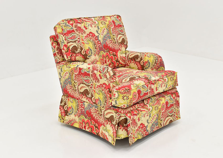 Angled view of the Multi-Colored Teak Cardinal Swivel Glider by Chairs America | Home Furniture Plus Bedding
