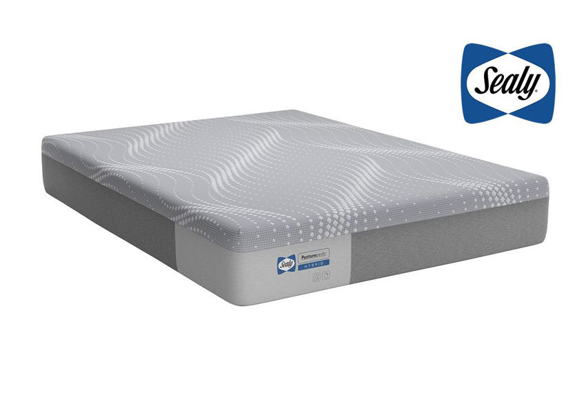 Slightly Angled View of the Sealy Posturepedic Hybrid Medina Firm Mattress in Queen Size | Home Furniture Plus Bedding