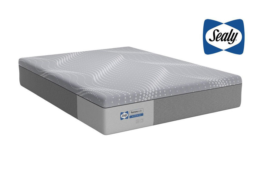 Slightly Angled View of the Sealy Posturepedic Hybrid Paterson Medium Mattress in Full Size   Home Furniture Plus Bedding