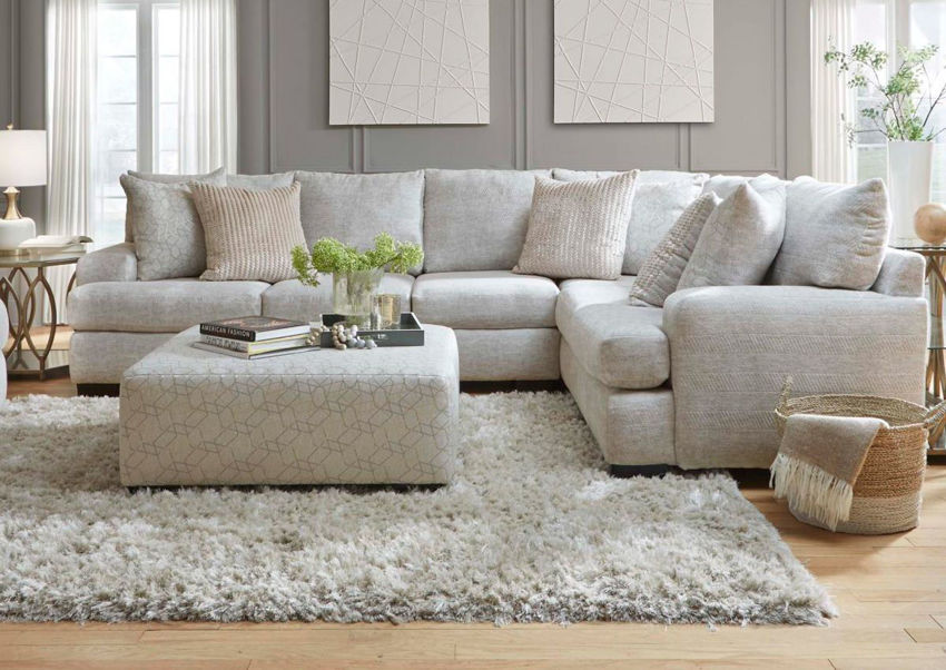 Room View of Gabriella Sectional Sofa with Ottoman in Foreground. Ottoman Sold Separately | Home Furniture Plus Bedding
