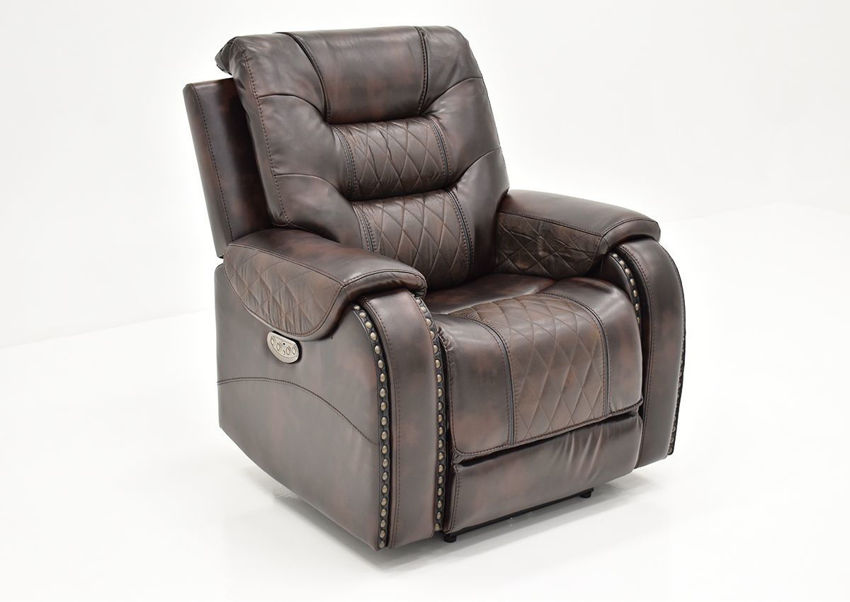 Slightly Angled Front View of the Granger POWER Recliner in Chocolate Brown by Vogue Home Furnishings | Home Furniture Plus Bedding