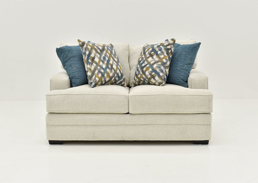 Front Facing View of the Rowan Loveseat in Off White by Franklin Furniture   Home Furniture Plus Bedding