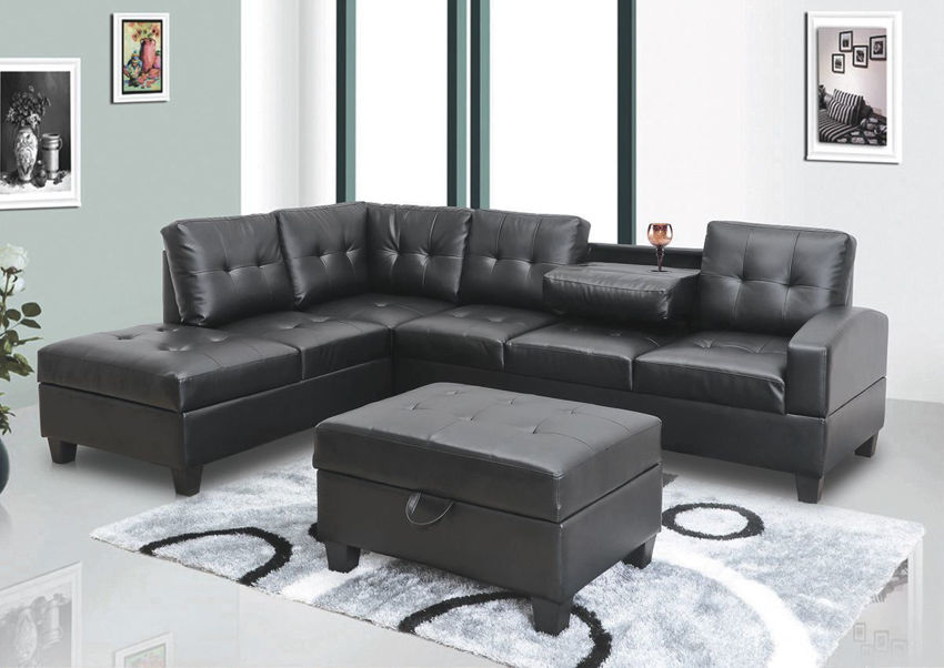 Room View of the Ryder Storage Sectional and Storaqge Ottoman in Black by Global Trading Unlimited | Home Furniture Plus Bedding