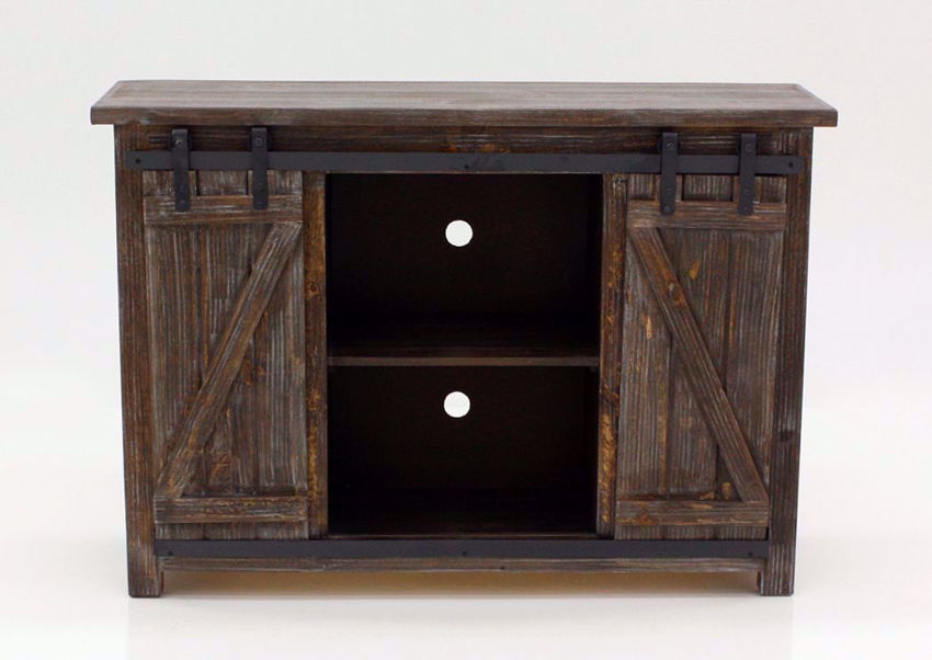 """Front Facing View of the Open Doors on the  Diego 50"""" TV Stand in Barnwood Brown by Vintage Furniture 