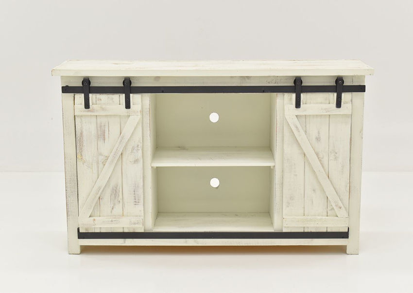 """Front Facing View of the Open Doors on the Diego 60"""" TV Stand in Rustic White by Vintage Furniture 