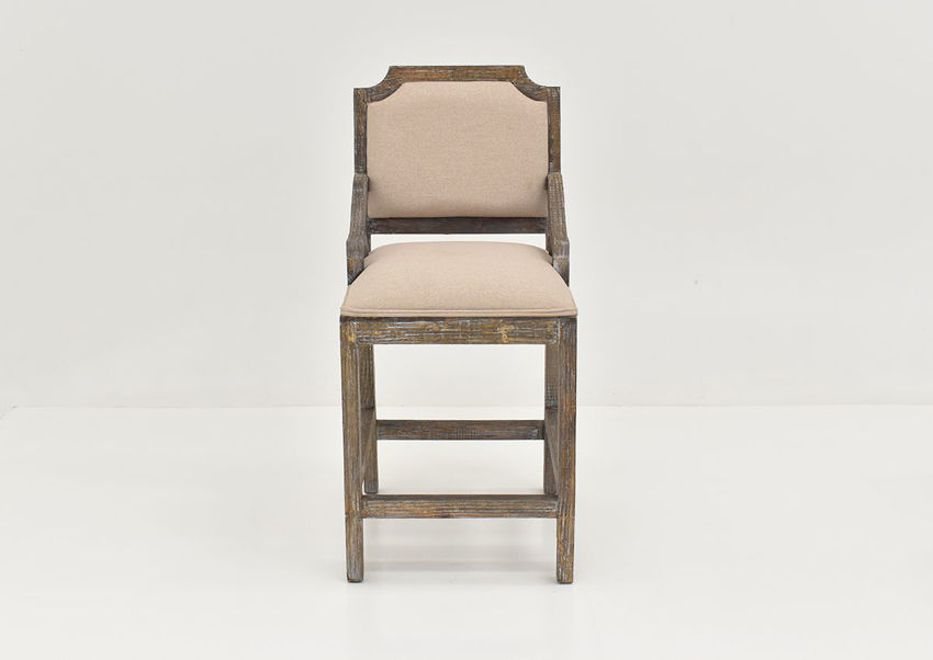 Front Facing View of the Brooks Chairback Barstool in Barnwood by Vintage Furniture, LLC. | Home Furniture Plus Bedding