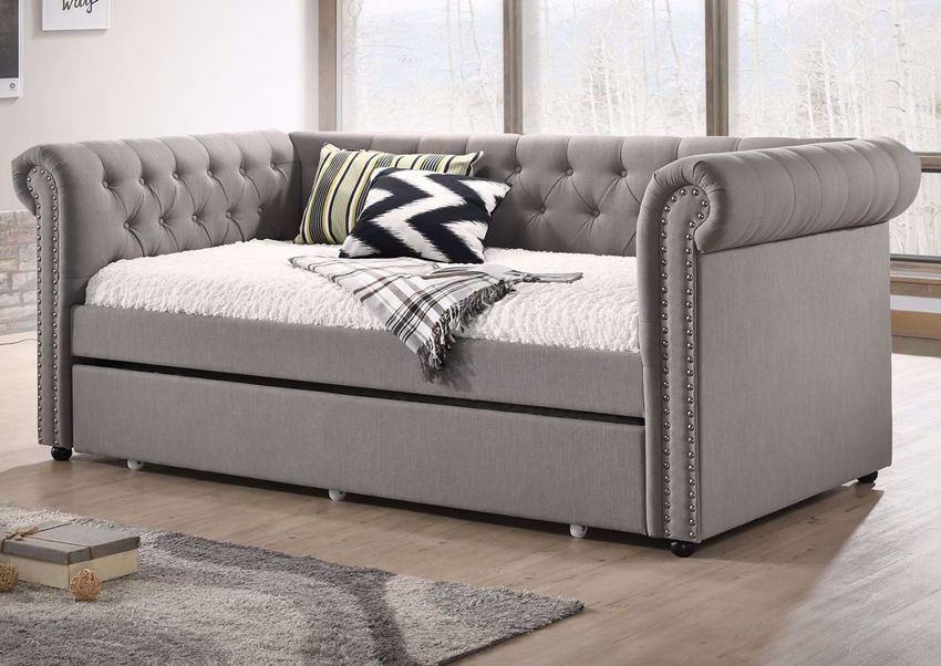 Gray Upholstered Ellie Daybed with the Trundle Closed in a Room Setting | Home Furniture Plus Bedding