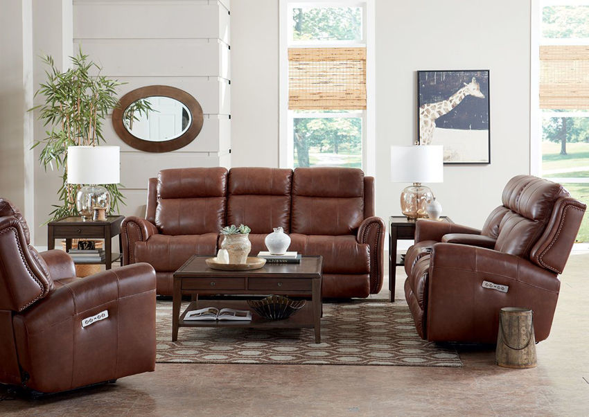 Picture of Marquee POWER Reclining Sofa Set - Umber Brown
