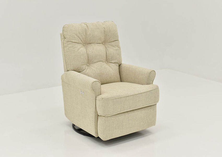 Angled View of the Carissa POWER Swivel Glider Recliner in Linen by Best Home Furnishings   Home Furniture Plus Bedding