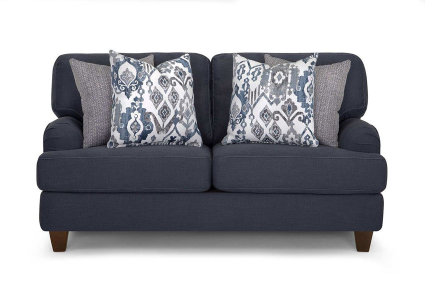 Front Facing View of the Landry Loveseat in Blue Indigo by Franklin Corporation | Home Furniture Plus Bedding