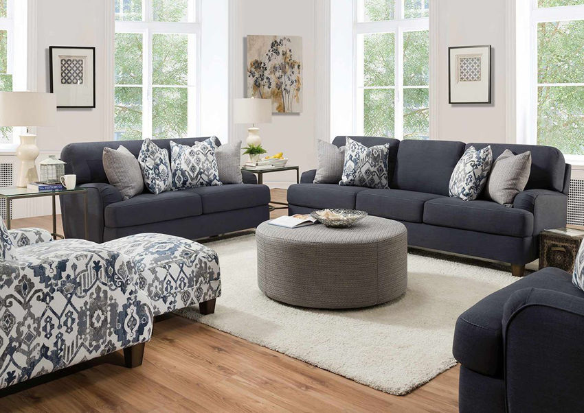 Room View of the Landry Sofa Set in Blue Indigo by Franklin Corporation | Home Furniture Plus Bedding