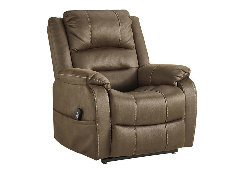 Slightly Angled View of the Whitehill POWER Lift Recliner in Chocolate Brown by Ashley Furniture   Home Furniture Plus Bedding