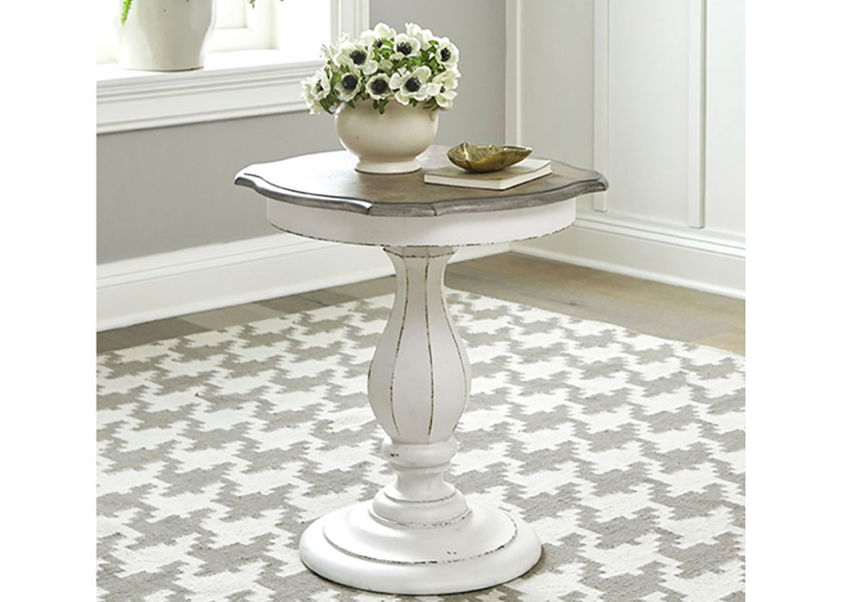 White Magnolia Manor Round Accent Table by Liberty Furniture Industries in a Room Setting | Home Furniture Plus Bedding
