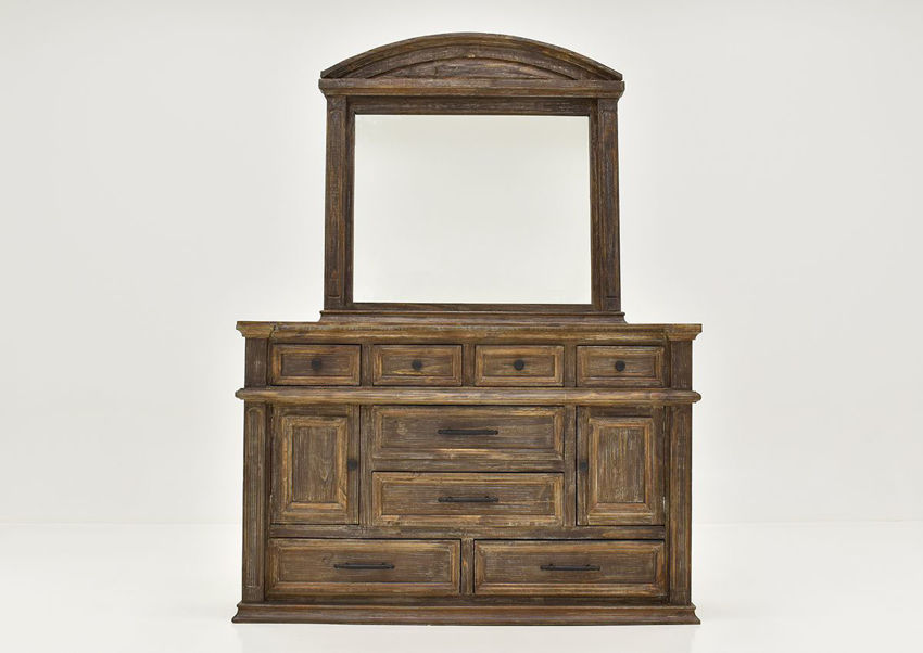 Barnwood Brown Vienna Dresser with Mirror by Vintage Furniture Showing the Front View | Home Furniture Plus Bedding
