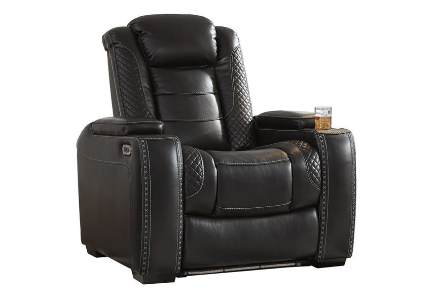 Angled View of the Party Time POWER Recliner in Midnight Black by Ashley Furniture | Home Furniture Plus Bedding