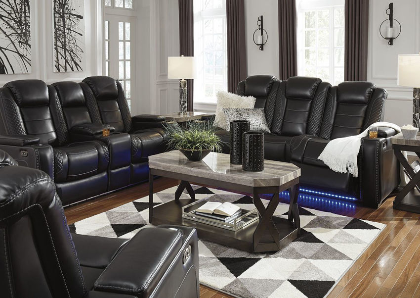 Room View of the Party Time POWER Reclining Sofa Set in Midnight Black by Ashley Furniture | Home Furniture Plus Bedding