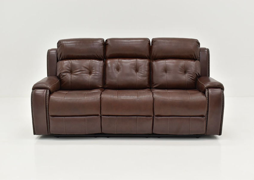 Front Facing View of the Rosewood Leather Reclining Sofa in Warm Brown by Behold Home | Home Furniture Plus Bedding