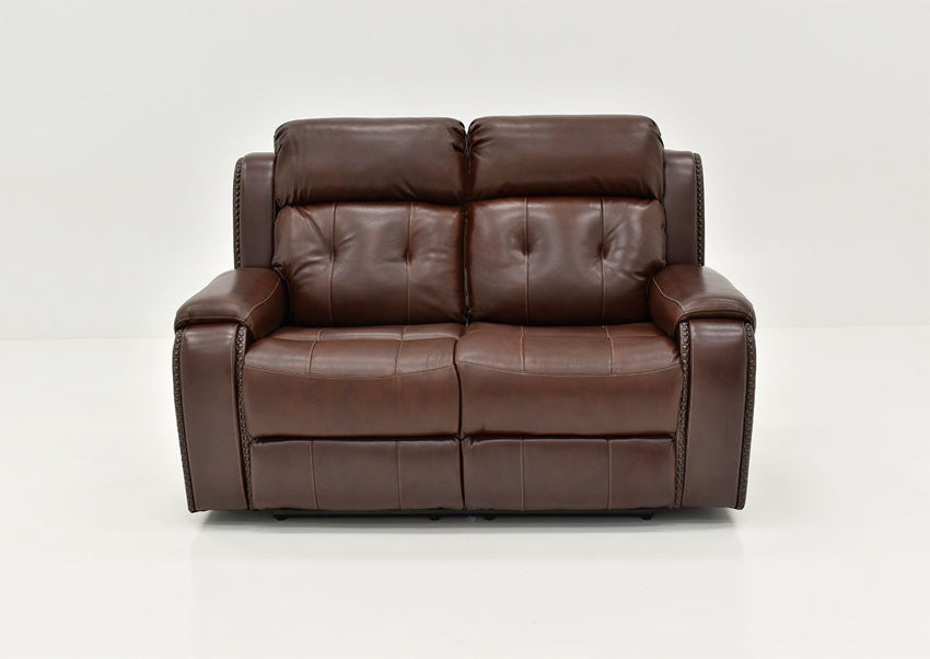 Front Facing View of the Rosewood Leather Reclining Loveseat in Warm Brown by Behold Home | Home Furniture Plus Bedding