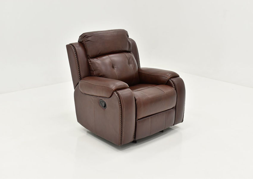 Angle View of the Rosewood Leather Recliner in Warm Brown by Behold Home   Home Furniture Plus Bedding