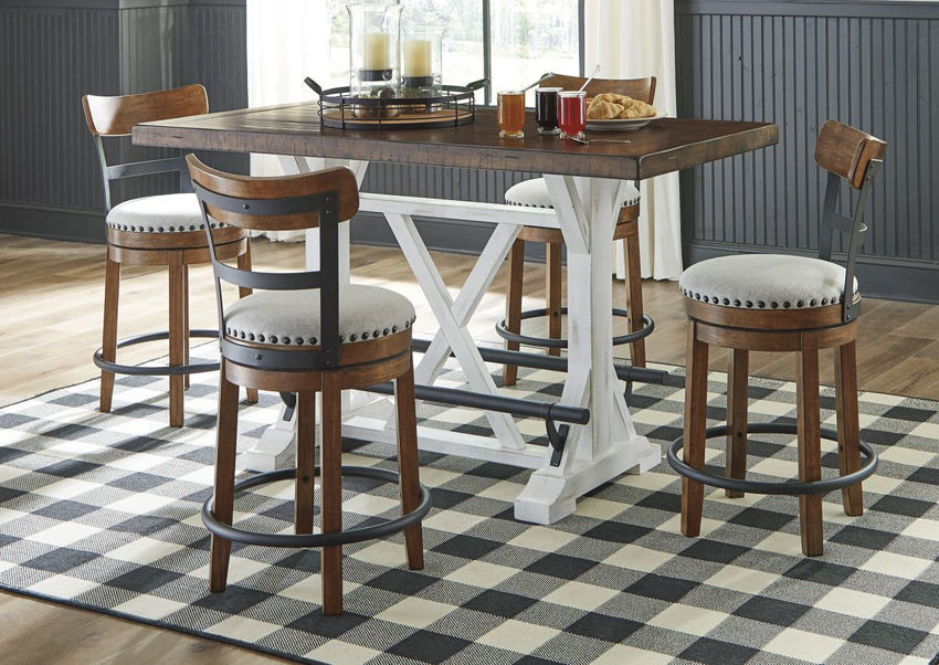 Room Scene of the Valebeck Counter Height Table Set in Brown by Ashley Furniture| Home Furniture Plus Bedding