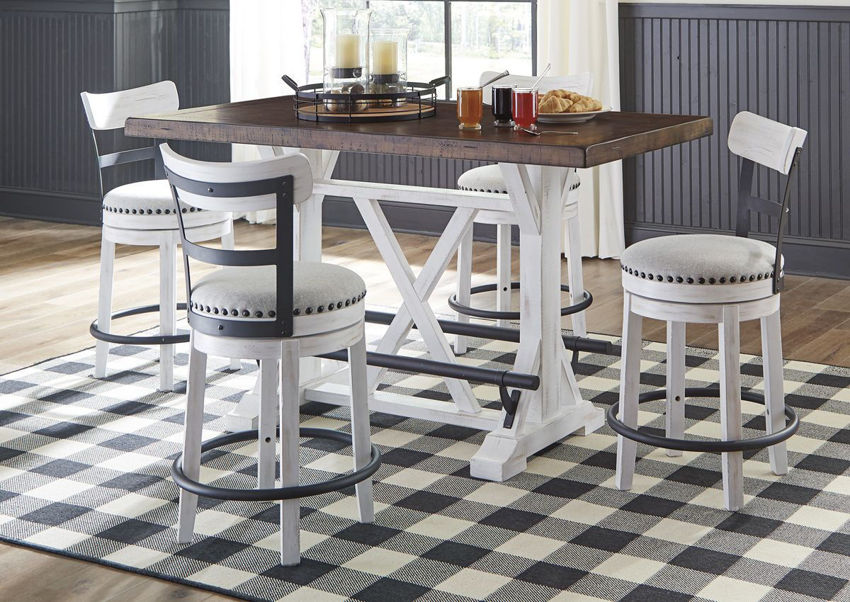 Room Scene of the Valebeck Counter Height Table Set in White by Ashley Furniture  Home Furniture Plus Bedding