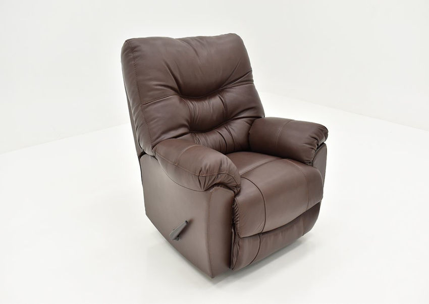 Angled View of the Trilogy Leather Rocker Recliner in Dark Brown by Franklin Corporation | Home Furniture Plus Bedding