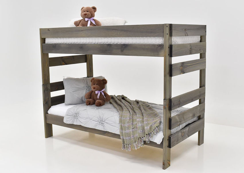 Slightly Angled View of the Duncan Twin over Twin Bunk Bed in a Walnut Brown Finish, Mattresses and Bedding Sold Separately | Home Furniture Plus Bedding