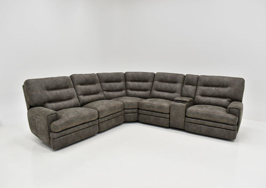 Front Facing View of the Jackson POWER Reclining Sectional Sofa in Gray by Kuka Home | Home Furniture Plus Bedding