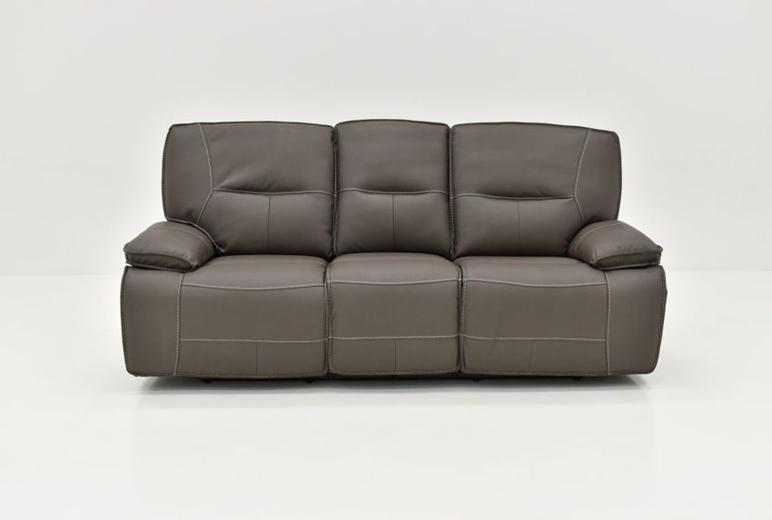 Front Facing View of the Spartacus POWER Reclining Sofa in Haze Gray by Parker House Furniture   Home Furniture Plus Bedding