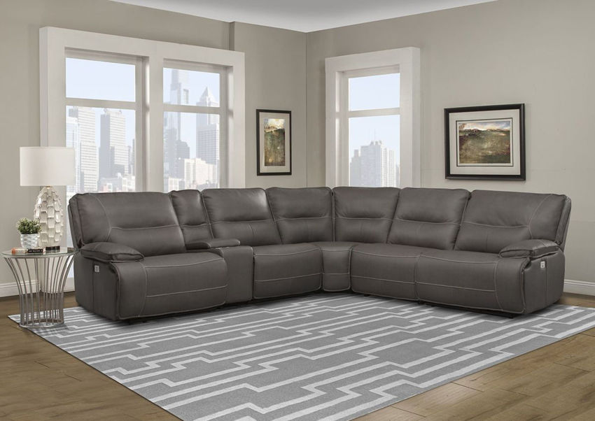Room View of the Spartacus POWER Reclining Sectional Sofa in Haze Gray by Parker House Furniture   Home Furniture Plus Bedding