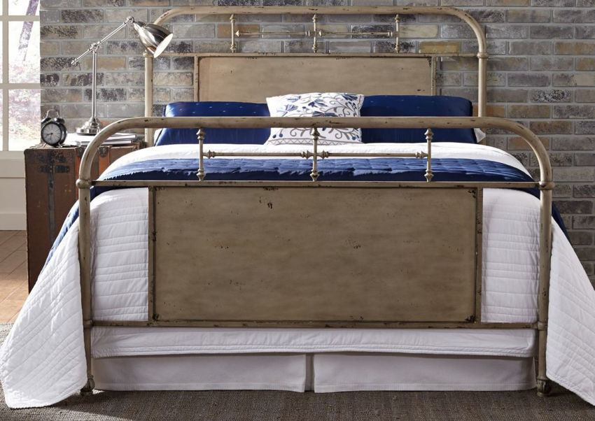 View from the Foot of the Vintage King Size Metal Bed in Cream by Liberty Furniture   Home Furniture Plus Bedding