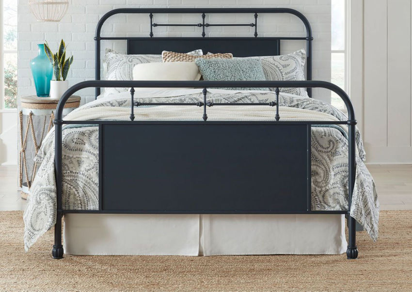 View from the Foot of the Vintage King Size Metal Bed in Navy by Liberty Furniture | Home Furniture Plus Bedding