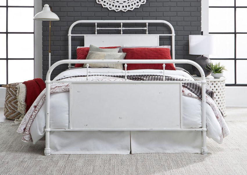 View from the Foot of the Vintage King Size Metal Bed in White by Liberty Furniture | Home Furniture Plus Bedding