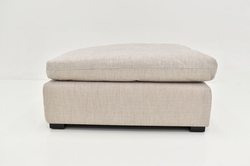 Front View of the Valley Ottoman in Off White by Behold Home | Home Furniture Plus Bedding