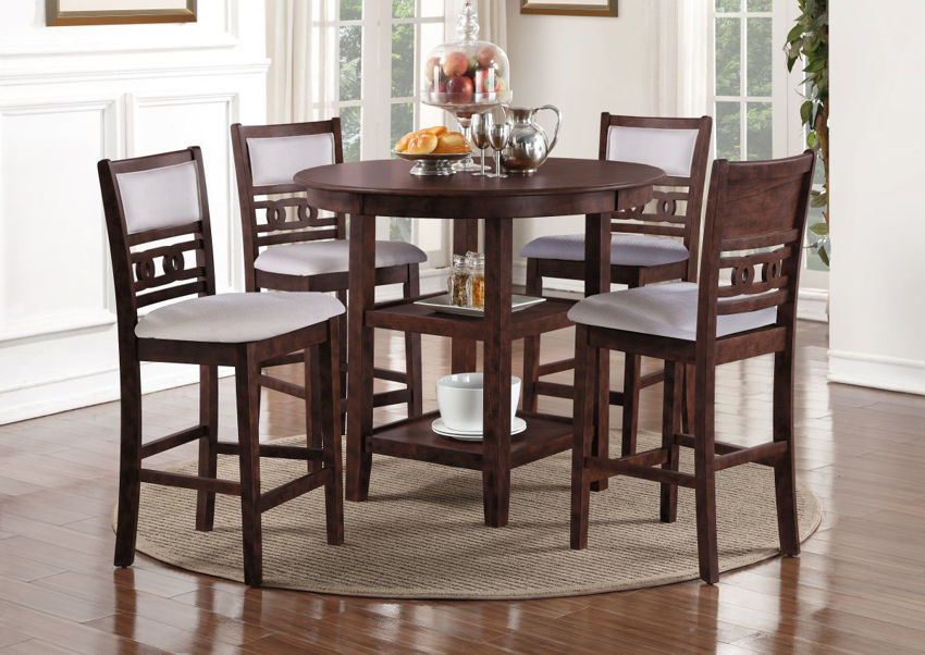 Room View of the Gia 5 Piece Counter Height Dining Table Set in Cherry by New Classic Furniture | Home Furniture Plus Bedding