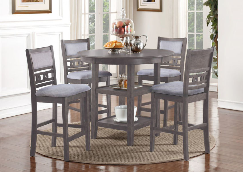 Room View of the Gia 5 Piece Counter Height Dining Table Set in Gray by New Classic Furniture   Home Furniture Plus Bedding