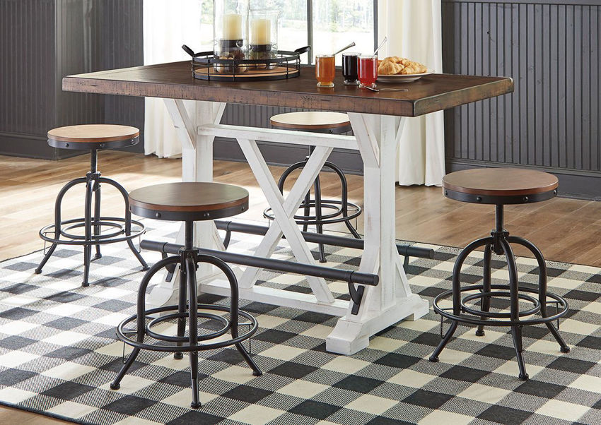 Room Scene of the Two-Tone Valebeck Counter Height Table Set by Ashley Furniture  Home Furniture Plus Bedding
