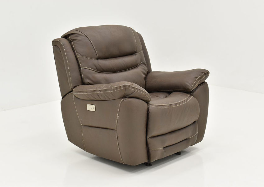 Slightly Angled View of the Dakota POWER Recliner in Brown by KUKA Home   Home Furniture Plus Bedding