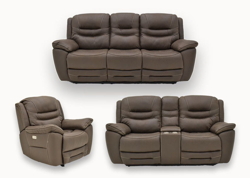 Group View of the Dakota POWER Reclining Sofa Set in Brown by KUKA Home | Home Furniture Plus Bedding