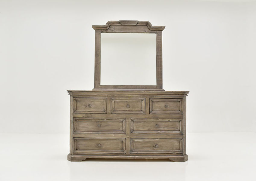 Front Facing View of the Westgate Dresser with Mirror in Granite by Vintage Furniture   Home Furniture Plus Bedding