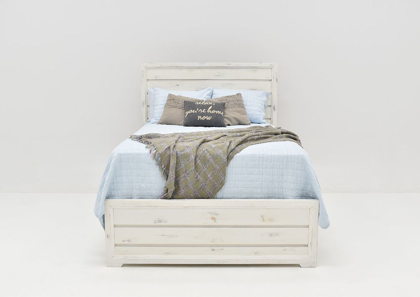 Front Facing View of the White Windjammer King Size Bed by Vintage Furniture | Home Furniture Plus Bedding