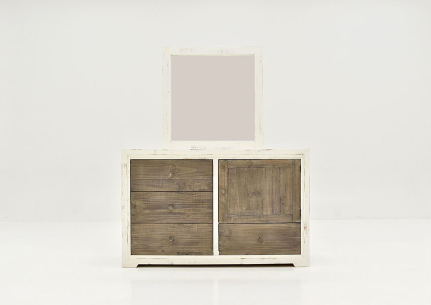 Front Facing View of the Two-Tone White with Brown Windjammer Dresser with Mirror by Vintage Furniture   Home Furniture Plus Bedding
