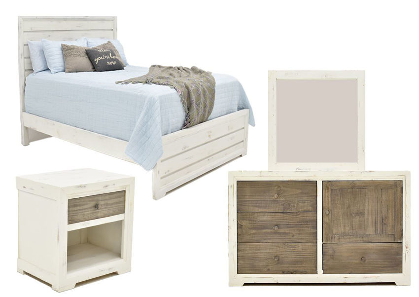 Group View of the Two-Tone White with Brown Windjammer Queen Size Bedroom Set by Vintage Furniture | Home Furniture Plus Bedding