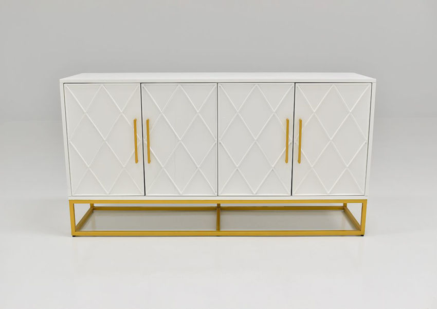 Front Facing View of the Argyle Glen 60 Inch Cabinet in White and Gold by Jofran | Home Furniture Plus Bedding