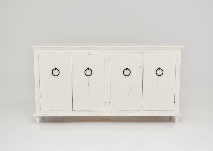 Front Facing View of  the Harlow 4 Door Console Cabinet in White by Vintage Furniture | Home Furniture Plus Bedding