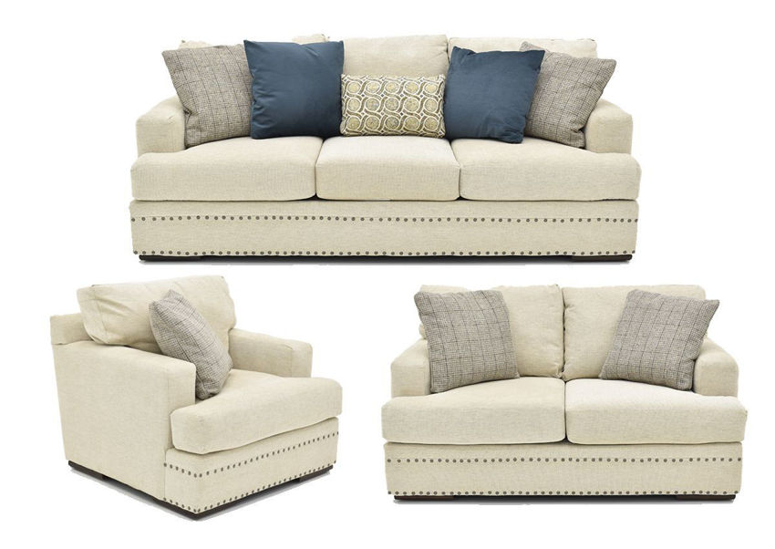 Group View of the Everette Sofa Set in Off-White by Klaussner | Home Furniture Plus Bedding